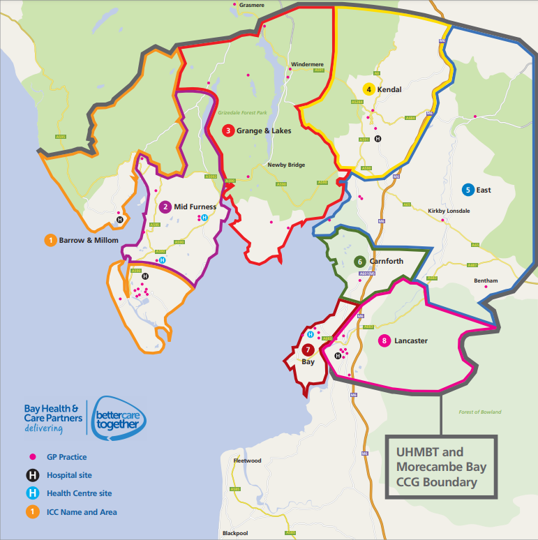 Integrated Care Communities boundary map in Morecambe Bay.png
