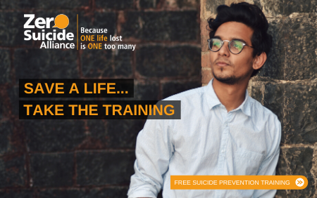 man leaning on brick wall. He is wearing a light coloured shirt and glasses. Text next to him says, save a life... take the training.